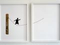 Seiltänzer, 2009, 2tlg. je 30x40 cm, Papier, Schnur, Holz auf Papier