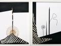 Zebrastreifen, 2008, 2tlg. je 30x 40cm, Fell, Metall, Papier, Textil, Stachel auf Papier (verkauft)
